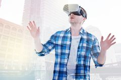 Bristled man being immersed into VR game Royalty Free Stock Photos