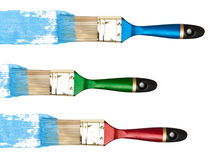 Bristles with blue color. Against the white background stock images