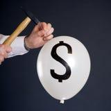 Bristning av den finansiella bubblan Arkivfoton