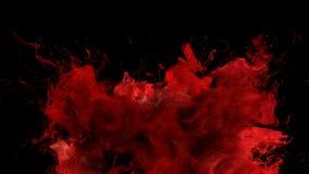 Bristning för röd färg - färgrik matte för alfabetisk för partiklar för rökexplosionvätska stock illustrationer