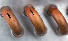 bristningskopparrör från förkylningen Royaltyfria Foton