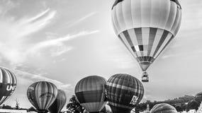Bristol Balloon Fiesta black and white Stock Photo