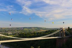 Bristol Balloon Fiesta & Clifton Bridge Royaltyfri Bild