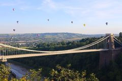 Bristol Balloon Fiesta & Clifton Bridge Royaltyfri Fotografi