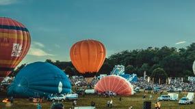 Bristol Balloon Fiesta at dust Royalty Free Stock Photography