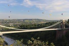 Bristol Balloon Fiesta y Clifton Bridge foto de archivo libre de regalías