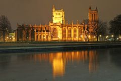 Bristol cathedral at night royalty free stock photography