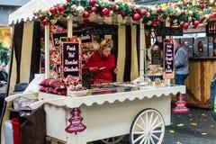 Bristol Christmas Market, German Market - Roasted Chestnut Stall Royalty Free Stock Photos