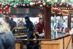 Bristol Christmas Market, German Market - Sausages stall. England, Bristol - November 12, 2016: Bristol Christmas Market, German Market - Sausages stall Royalty Free Stock Images