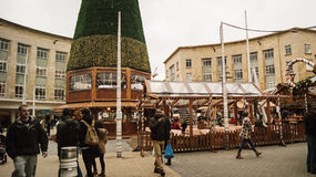 Bristol Christmas market. Bristol, UK - November 9, 2015: The 7th German Christmas Market in Broadmead, Bristol. They are 38 traditional chalets decorated with Royalty Free Stock Photos