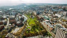 Bristol City Center Aerial View in Engeland het UK royalty-vrije stock foto's