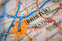 Bristol City on a Road Map Royalty Free Stock Photo