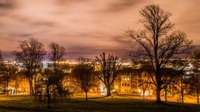 Bristol cityscape behind trees. Horizontal night photography Royalty Free Stock Photo