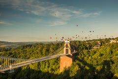 Bristol, Clifton Suspension Bridge and Balloon Fiest. Isambard Kingdom Brunels landmark suspension bridge Royalty Free Stock Image