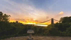 Bristol Clifton Suspension Bridge at Golden Hour F. Horizontal Photography Royalty Free Stock Image