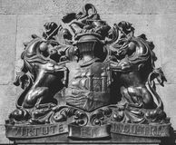 Bristol Coat of Arms. English Crest of Bristol, Vintage Wall Ironwork, black and white photography Royalty Free Stock Photography