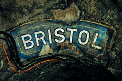 Bristol, colorful writing. Bristol, old colorful writing, outdoors Royalty Free Stock Photo