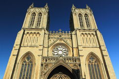 Bristol. The detail of front view of Cathedral in Bristol, England Royalty Free Stock Photos