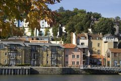 Bristol dock town houses. Town houses situated on the quay in Bristol docks Stock Photos