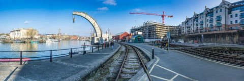 Bristol Docks Panoramic (Crane) Stock Photography