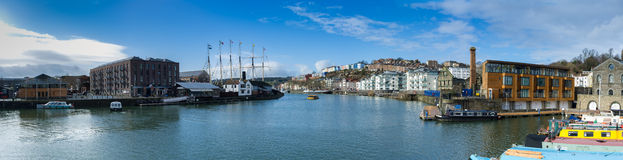 Bristol Docks Panoramic (SS Großbritannien) Lizenzfreie Stockfotografie