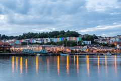 Colourful buildings on the waterfront in Bristol harbour at night. royalty free stock photography
