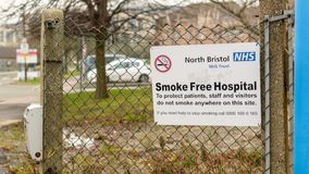 NHS North Bristol Smoke Free Hospital. Bristol, England - Jan 6, 2018: NHS North Bristol Smoke Free Hospital, Close up of Information Sign in Southmead Hospital Stock Image