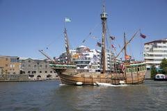 BRISTOL, ENGLAND - JULY 19: The replica sail ship The Matthew fe Royalty Free Stock Photo
