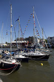 BRISTOL, ENGLAND - JULY 19: yachts at the Bristol harbourside fe Stock Photos