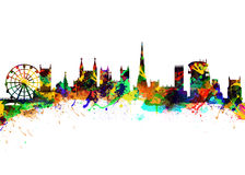 Bristol England. Watercolor art print of the Skyline of  Bristol England Royalty Free Stock Images