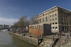 Bristol eniga Kingdrom, 23rd Februari 2019, Arnolfini mitt för samtidaa konster i Bristol arkivbild