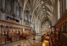 Bristol Förenade kungariket, Februari 2019, sikt av kören i Bristol Cathedral royaltyfria bilder