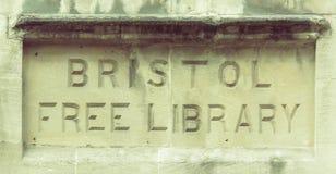 Bristol Free Library Carved i en vägg Royaltyfria Foton