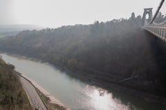 Bristol-Hängebrücke über dem Fluss Avon lizenzfreie stockfotos