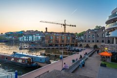 Bristol Harbour Sunset - 18 de mayo Fotos de archivo