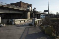 Bristol, het UK, 23 Februari 2019, Isambard-de overblijfselen van de de schommelingsbrug van Koninkrijksbrunels stock fotografie