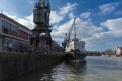 Bristol, het Verenigd Koninkrijk, 23 Februari 2019, MV Balmoral schip bij M Shed Museum bij Wapping-Werf royalty-vrije stock foto