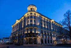 Bristol Hotel in Warsaw night scene. Night scene of Bristol Hotel exterior in central Warsaw, Poland stock photo
