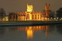 Bristol-kathedraal bij nacht royalty-vrije stock fotografie