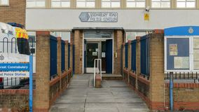 Bristol Knowle West Police Station Entrance. Bristol, England - Nov 26, 2017: Police Station Entrance, Avon and Somerset Constabulary, Broadbury Rd, Knowle West Stock Photography