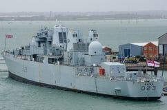 Bristol Royal Navy Destroyer D23 nel porto di Portsmouth Fotografia Stock