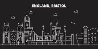 Bristol-silhouethorizon Groot-Brittannië - de vectorstad van Bristol, Britse lineaire architectuur, gebouwen Bristol-reis royalty-vrije illustratie