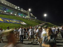 Bristol Speedway NASCAR Races Line Leaving. The line of People leaving NASCAR races in Bristol Tennessee mountains at night. Bristol Motor Speedway Stock Photography