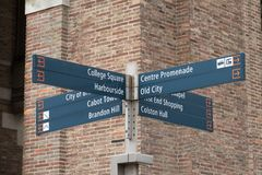 Bristol Tourist Destinations. A sign giving directions to various tourist destinations in the centre of Bristol, UK stock photography