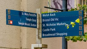 Bristol Tourist Information Post. Captured near to Queen Square, Shallow Depth of Field Stock Photos