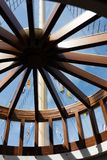 View out of a wooden circular window on the SS Great Britain in dry dock in Bristol on May 14, 2019. BRISTOL, UK - MAY 14 : View out of a wooden circular window royalty free stock photography