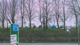 Bristol Unofficial Campsites next to Motorway M32. Split toning shallow depth of field horizontal photography royalty free stock photo