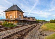 Old historic train depot in Bristol Virginia. Bristol Virginia historic train depot and train tracks in downtown Bristol stock photo