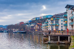 Bristol waterfront with colourful houses stock image