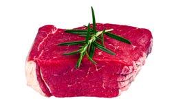Británicos frescos uncocked la carne de la losa de la carne de vaca, romero Imagenes de archivo